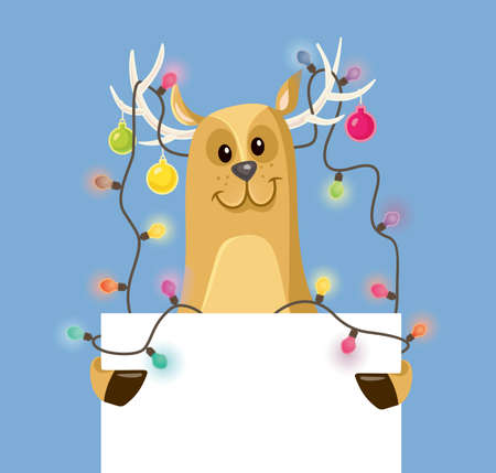 Funny Reindeer Holding an Empty Banner Sign for Christmas