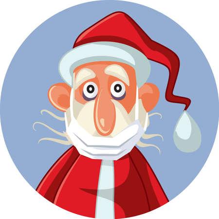 Santa Claus Wearing Medical Mask Under His Chin Çizim
