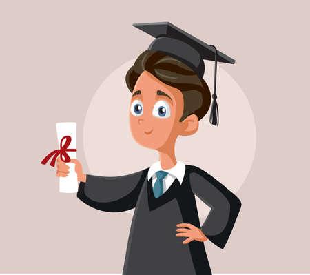 Teenage Boy Graduating School Vector Cartoon