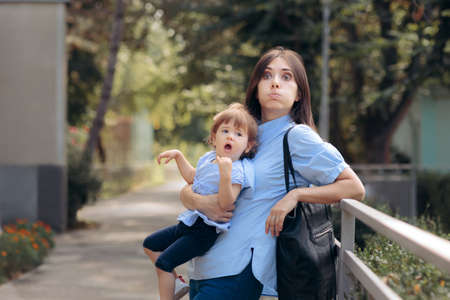 Tired Exhausting Mom Holding Naughty Toddler Child