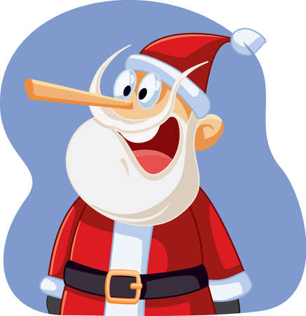 Liar Santa Claus with Long Nose Vector Cartoon