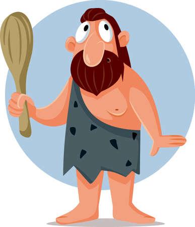 Funny Cartoon Caveman Holding a Bat