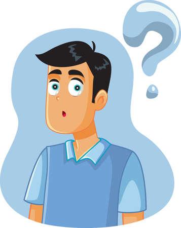 Confused Man Having Many Questions Vector Cartoon Vecteurs