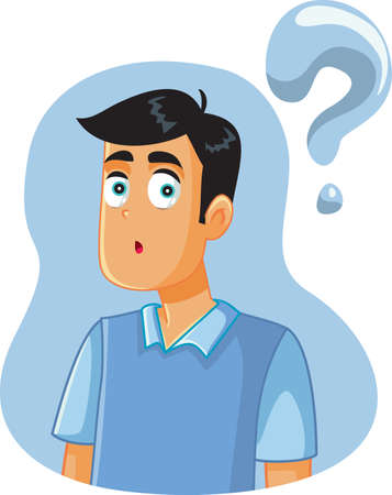 Confused Man Having Many Questions Vector Cartoon