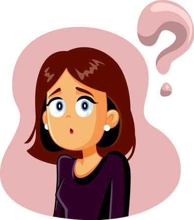 Confused Woman Having Many Questions Vector Cartoon
