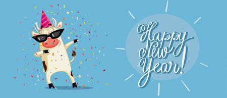 Funny Party Ox Celebrating New Year Vector Cartoon