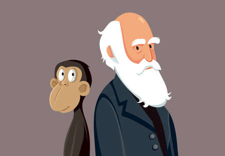 Charles Darwin Funny Cartoon Illustration