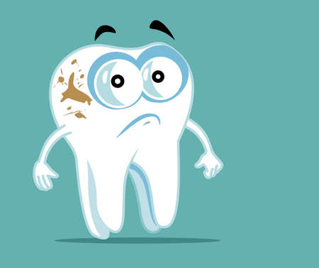 Unhappy Tooth Cartoon Character with Coffee Stains