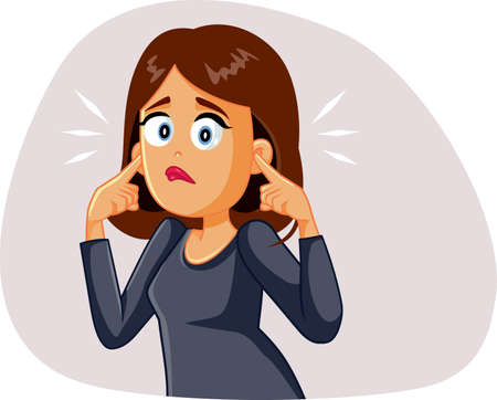 Young Woman Covering up His Ears Hearing a Stressful Noise 矢量图像