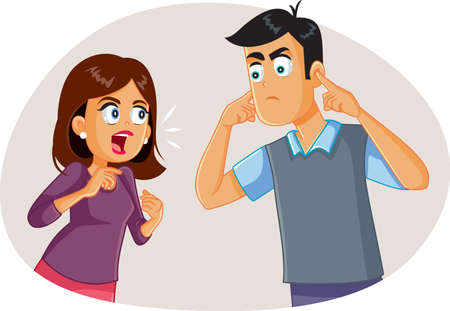 Wife Arguing with Husband While He Covers His Ears Vektorové ilustrace