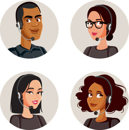 Call Center Agents Avatars Collection Set