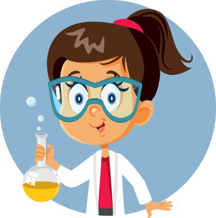 Student Girl Holding Chemistry Beaker In Science Class