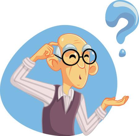 Senior Man Thinking Having Many Questions Ilustração