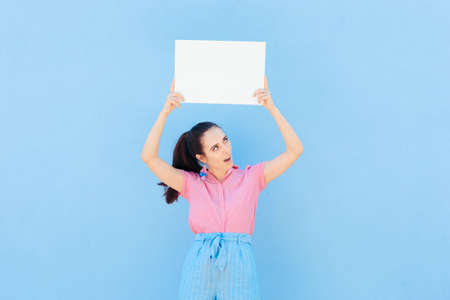Happy Woman Holding Empty White Advertising Board