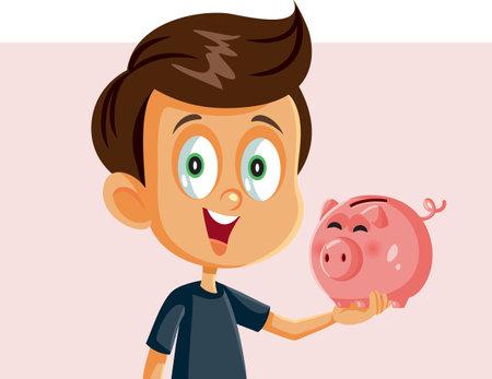 Happy Boy Holding a Piggy Bank