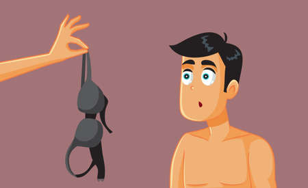 Man Looking at a Bra Ready for Romantic Affair