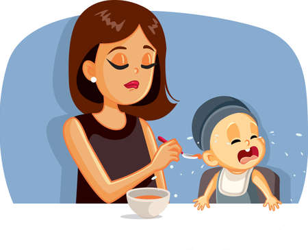 Crying Baby Refusing to Eat Vector Illustration Vettoriali