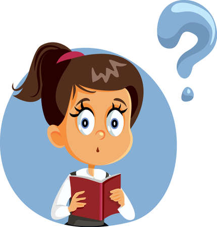 Student Girl Holding a Book Having Questions