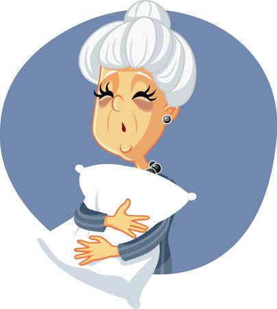 Tired Senior Woman Going to Sleep