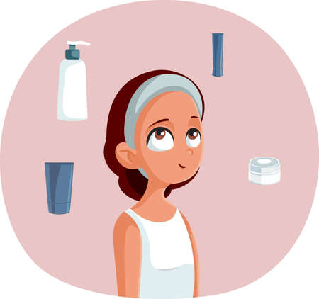 Girl Surrounded by Skin Care Cosmetic Products