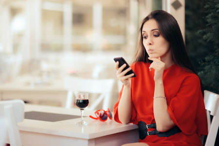 Bored Girl Waiting in a Restaurant Checking Smartphone