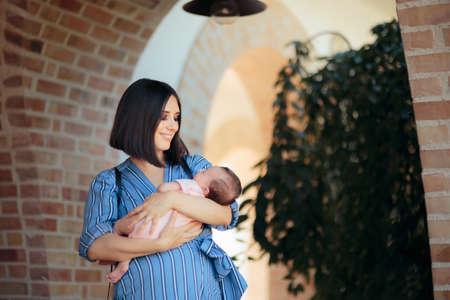 Loving Mother Holding Sleeping Newborn Baby