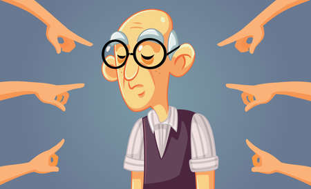 Hands Pointing to a Sad Senior Man
