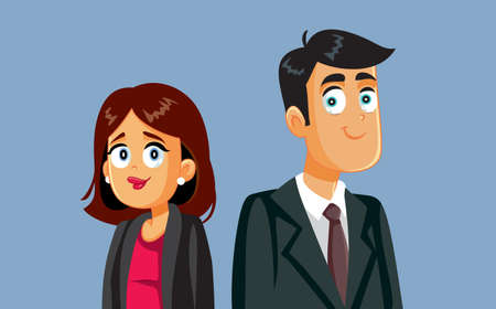 Businesswoman and Businessman Standing Together Vector Cartoon
