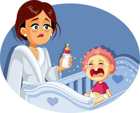 Tired Mother Holding Milk Bottle Night Feeding Baby