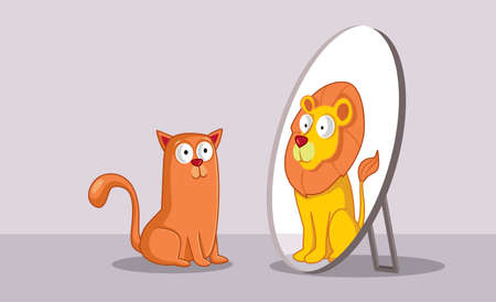 Confident Cat Looking in the Mirror Seeing a Lion 免版税图像 - 164538211