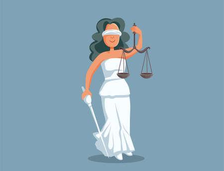 Statue of Lady Justice Vector Cartoon Illustration Vector Illustration