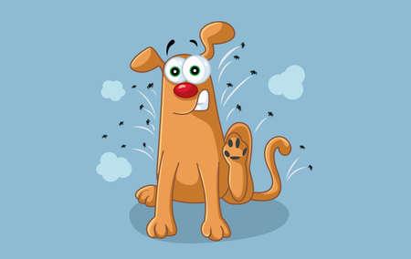Funny Cartoon Dog Scratches Fleas Off