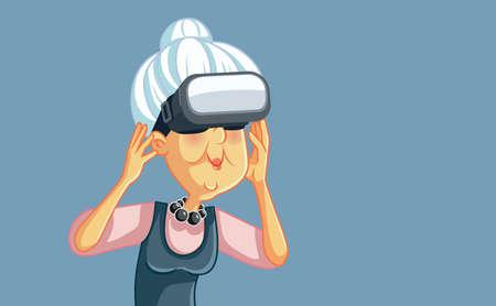 Happy Senior Woman Wearing VR Glasses Having Fun