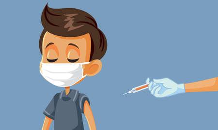 Little Boy Wearing Face Mask Getting Vaccinated Vektoros illusztráció