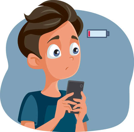 Teen Boy with Low Battery Anxiety Vector Cartoon