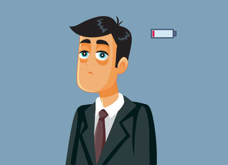 Tired Businessman with Burnout Syndrome Vector Illustration