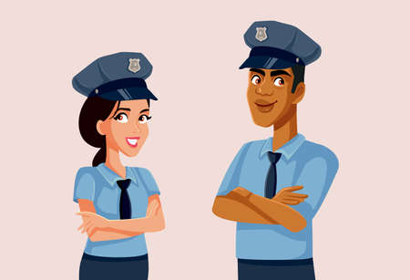 Policeman and Policewoman Standing Together Vector Illustration Vector Illustratie