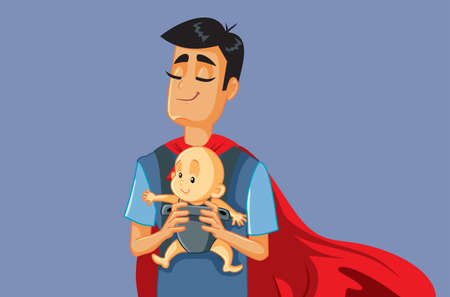 Superhero Father Holding Baby in Carrier Vector Illustration 矢量图片