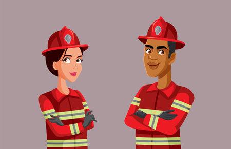 Fireman and Firewoman Standing Together Vector Illustration Ilustración de vector