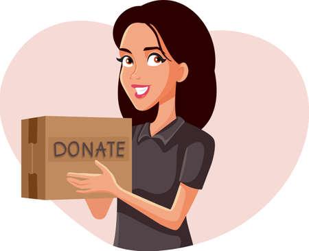 Woman Holding Donation Box Vector Illustration