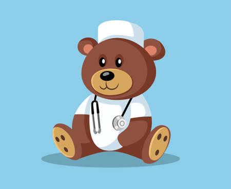 Cartoon Doctor Teddy Bear with Stethoscope