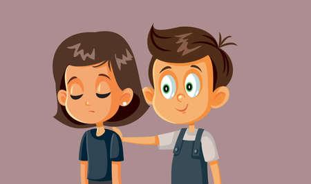 Boy Comforting Girl Vector Cartoon Illustration