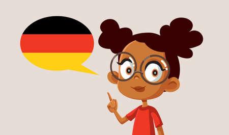 Smart Girl Learning to Speak German