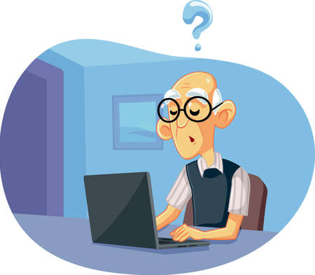 Senior Old Man Having Problems Operating a Computer