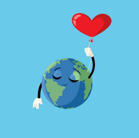 Cartoon Earth Character Heart Balloon Vector Illustration Vector Illustration