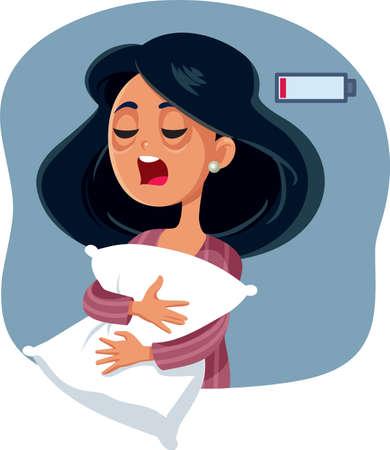 Yawning Tired Woman Having No Energy