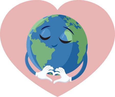 Cute Happy Loving Earth Planet Vector Cartoon
