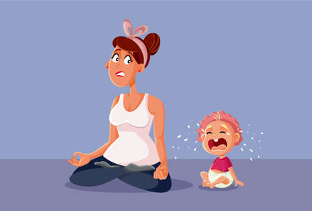 Baby Crying Next to Stressed Mom Trying to Relax