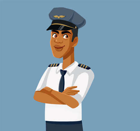 African Pilot Standing with Arms Crossed Vector Illustration