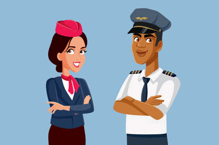 Airline Workers Pilot and Stewardess Standing Together